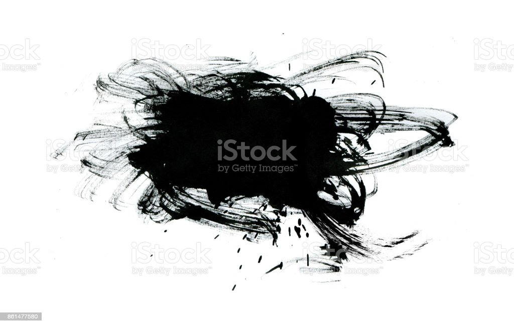Black paint with brush stroke isolated on white background stock photo