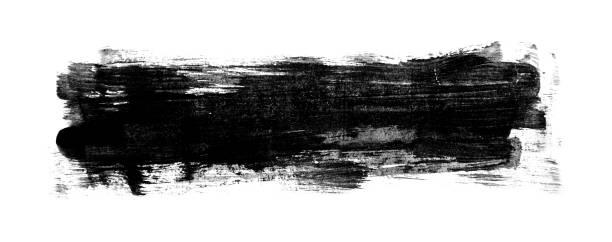 Black painted Image with brush stroke isolated on white background stock photo