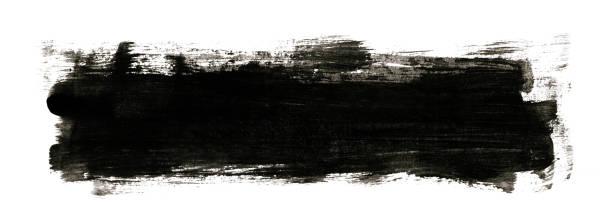 Preto pintado imagem com pincelada isolada no fundo branco - foto de acervo