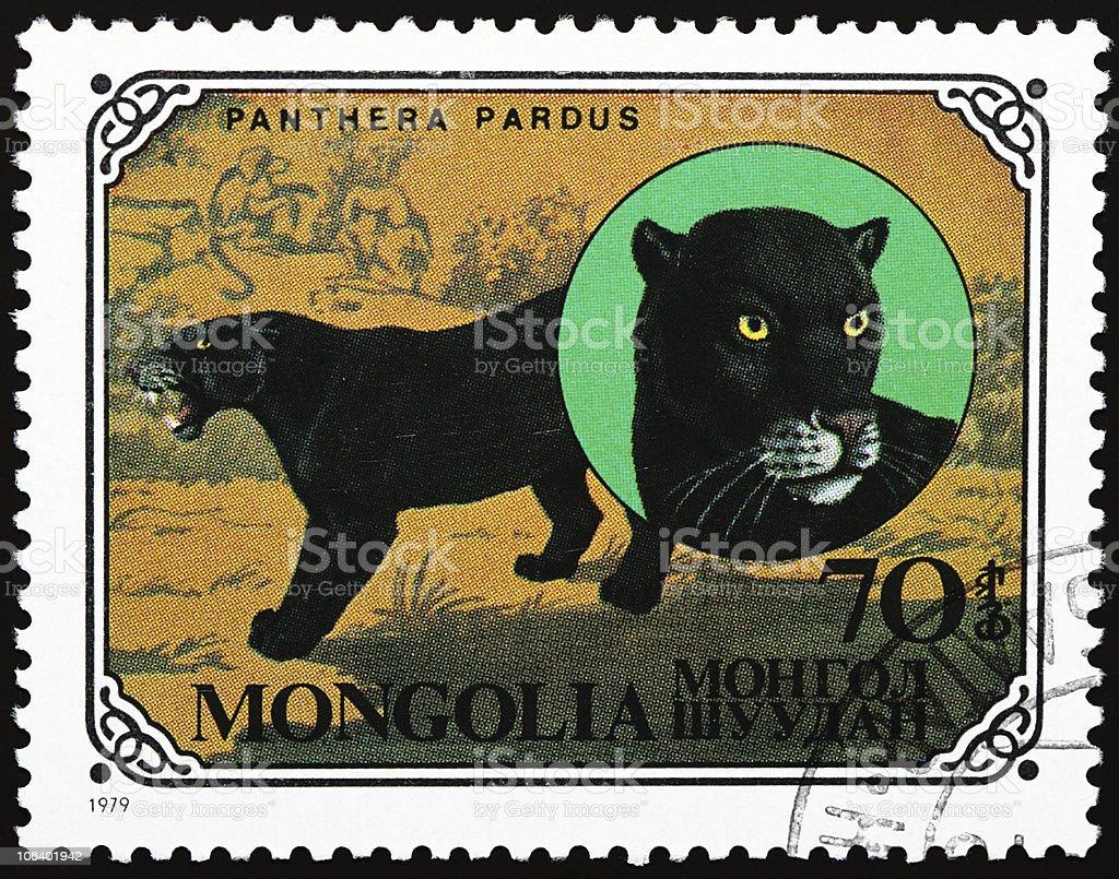 Black panther stamp - Royaltyfri Aggression Bildbanksbilder