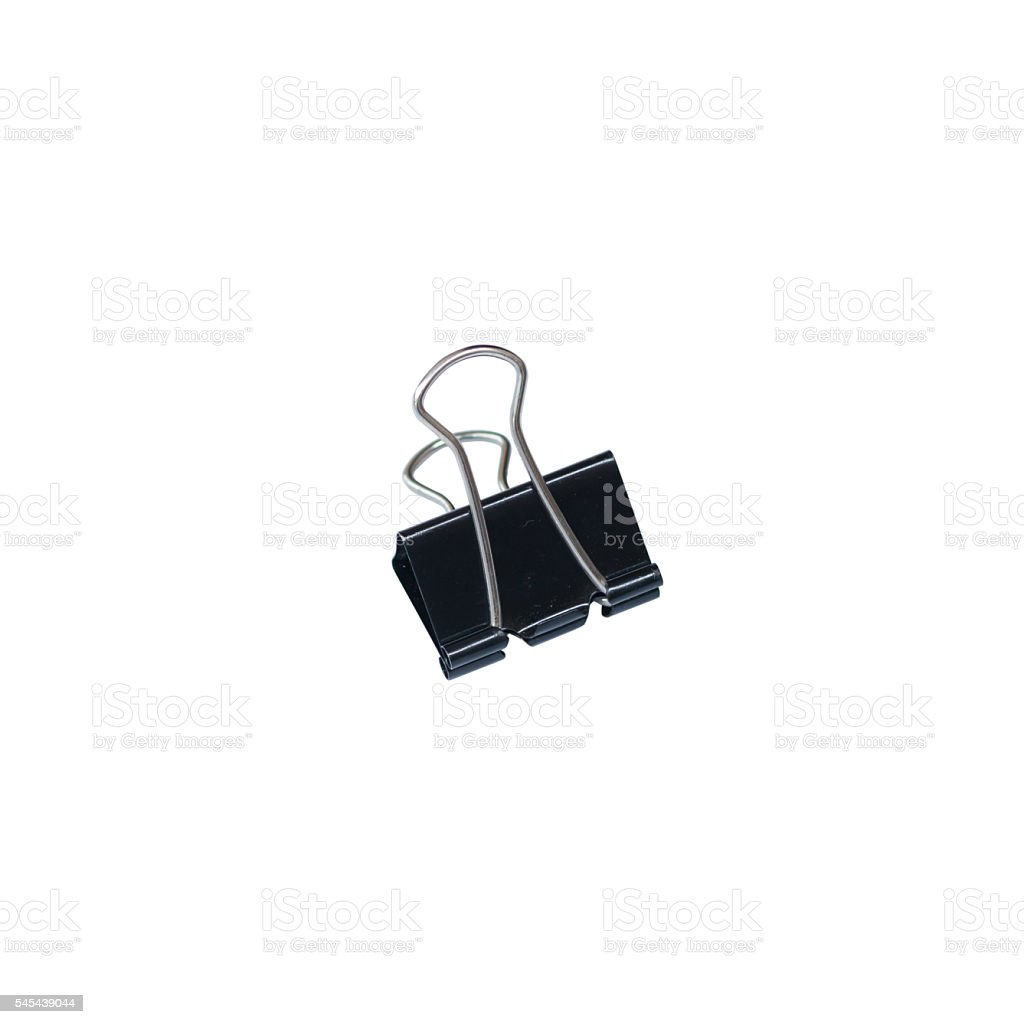 Black Paper clip isolated on white background. stock photo