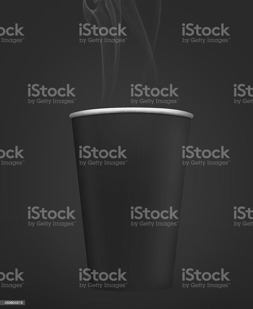 Black Paper Coffee Take Away Cup with steam stock photo