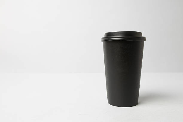 black paper cup mockup - paper coffee cup stock photos and pictures