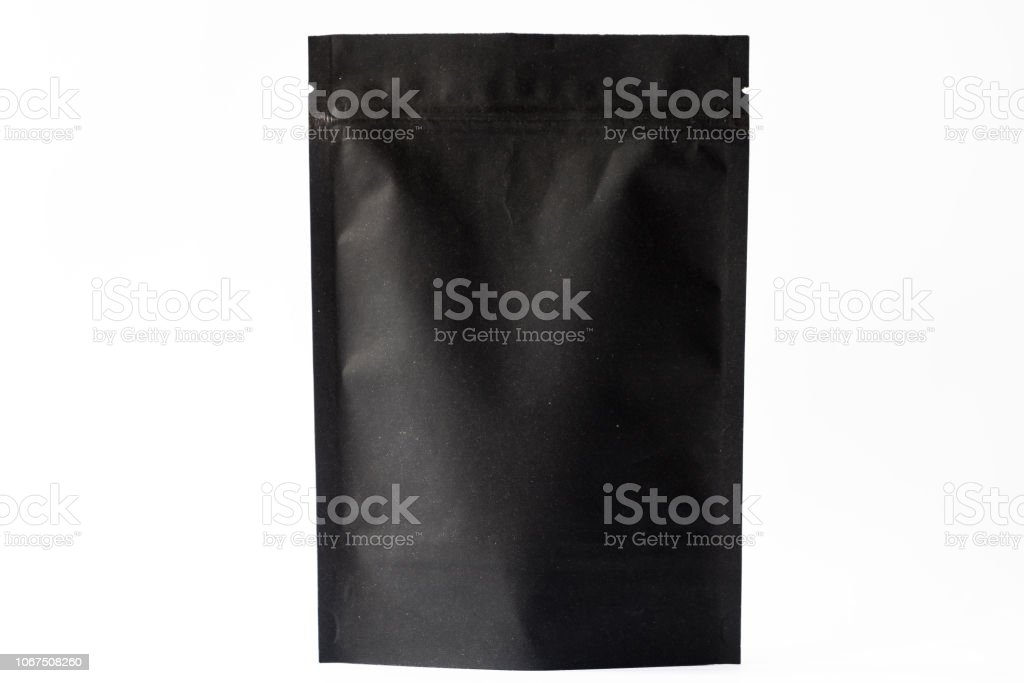 black paper doypack stand up pouch with zipper on white background stock photo