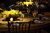Sophisticated wedding party themed in shades of black, yellow and gold