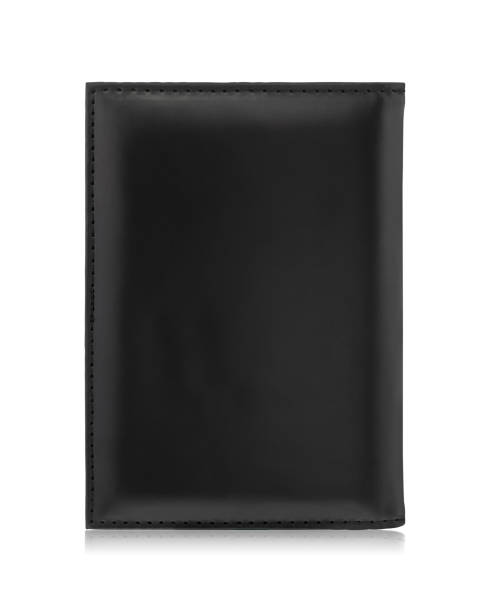Black passport wallet isolated on white background. Template of leather purse for your design. stock photo