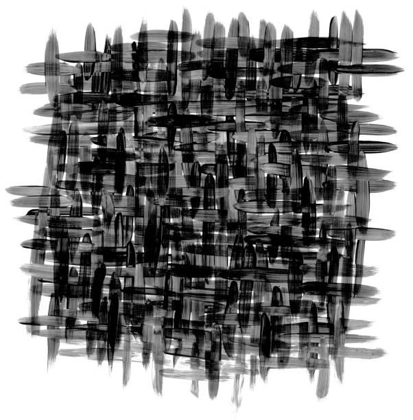 schwarzer fleck dicht verwobenen stoff mit sichtbaren vertikalen und horizontalen thread passage - gesäumten unregelmäßige hand gezeichnete stoffmuster - kariertes hintergrundsbild stock-fotos und bilder