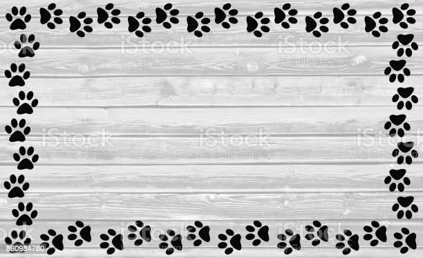 Black paw prints frame on white wooden background picture id860984780?b=1&k=6&m=860984780&s=612x612&h=d5znojcmybats6phbqsecq xdb fyeo 9sbi0yujxf4=