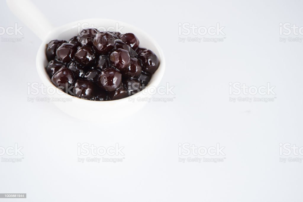 Black Pearls Boiled Tapioca Pearls For Bubble Tea On White Background Copy  Space Stock Photo - Download Image Now