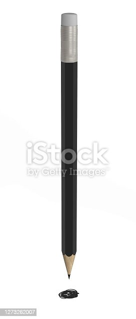 black pencil, isolated on white, 3d rendering, black point