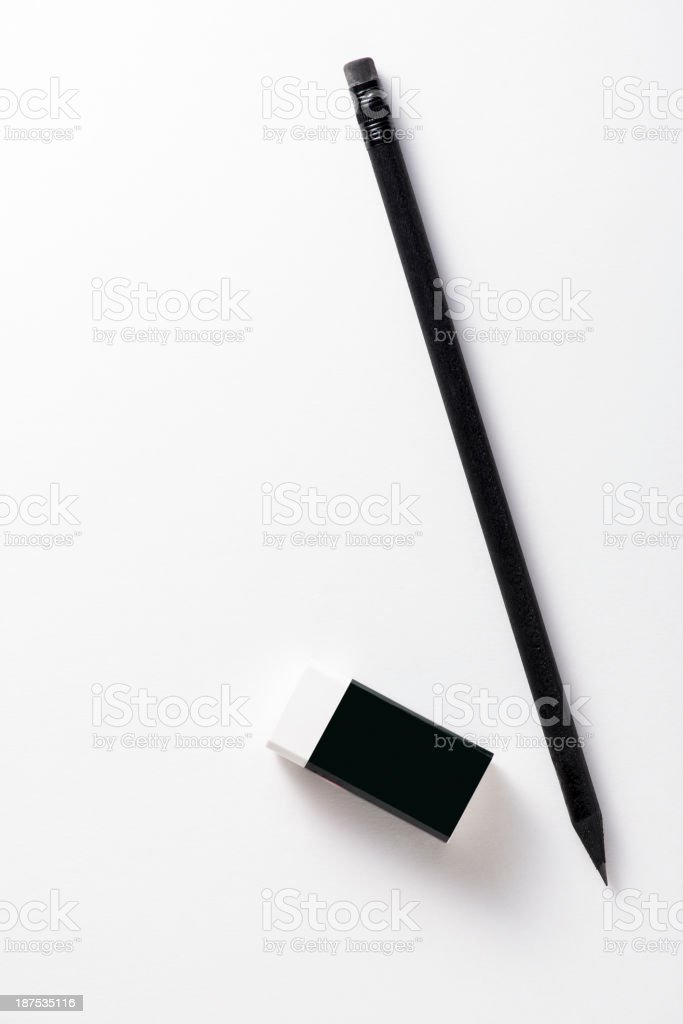 Black Pencil and rubber stock photo