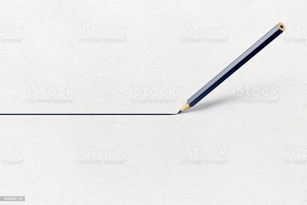 Black  Pencil Drawing A Red Straight Line  on Paper stock photo