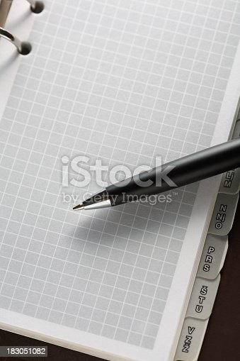 Black pencil on planner