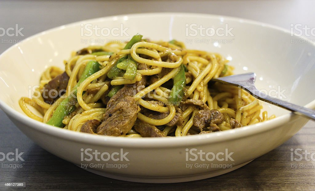 Black Pepper Beef Fried Spaghetti stock photo