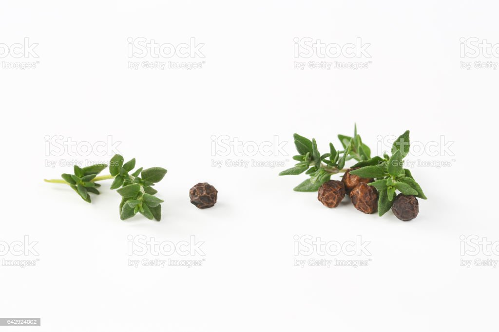 black peppercorns and thyme stock photo