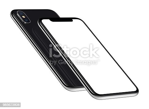 istock Black perspective smartphones mockup front and back sides one above the other 985623806