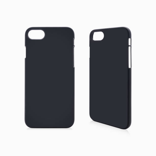 Black phone case on isolated background with clipping path. stock photo