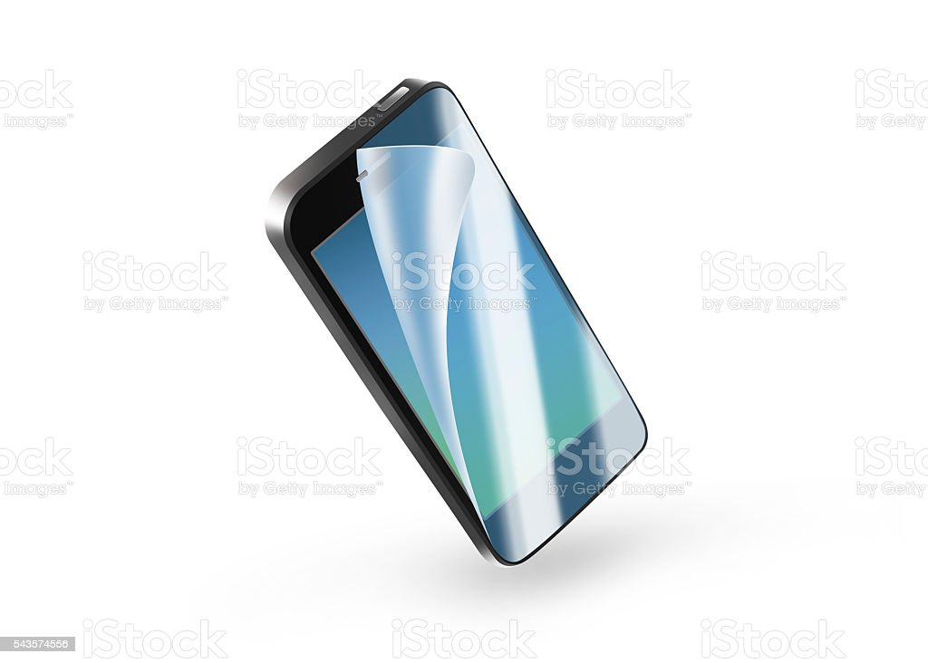 Black phone protection film on screen. Mobile display with prote stock photo