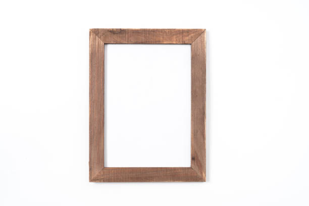 black photo frame on white background - mata imagens e fotografias de stock