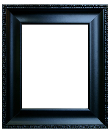 Black photo frame with blank center.  You add the photo.