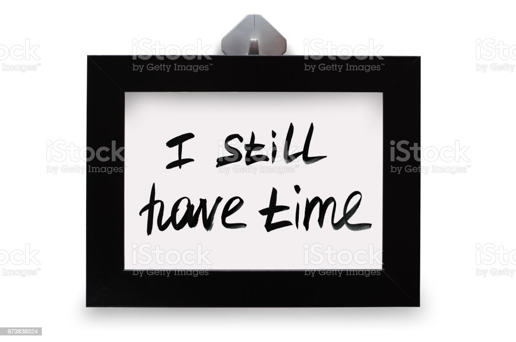 Black photo frame. The inscription I still have tame. Isolated on white background stock photo