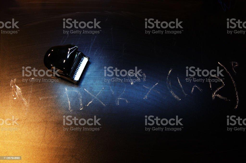 black piano chalk board formula stock photo