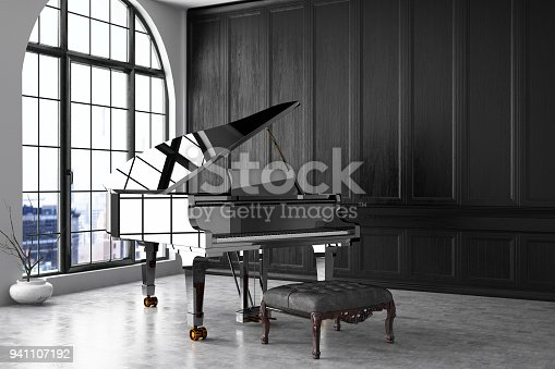 Piano in empty black room
