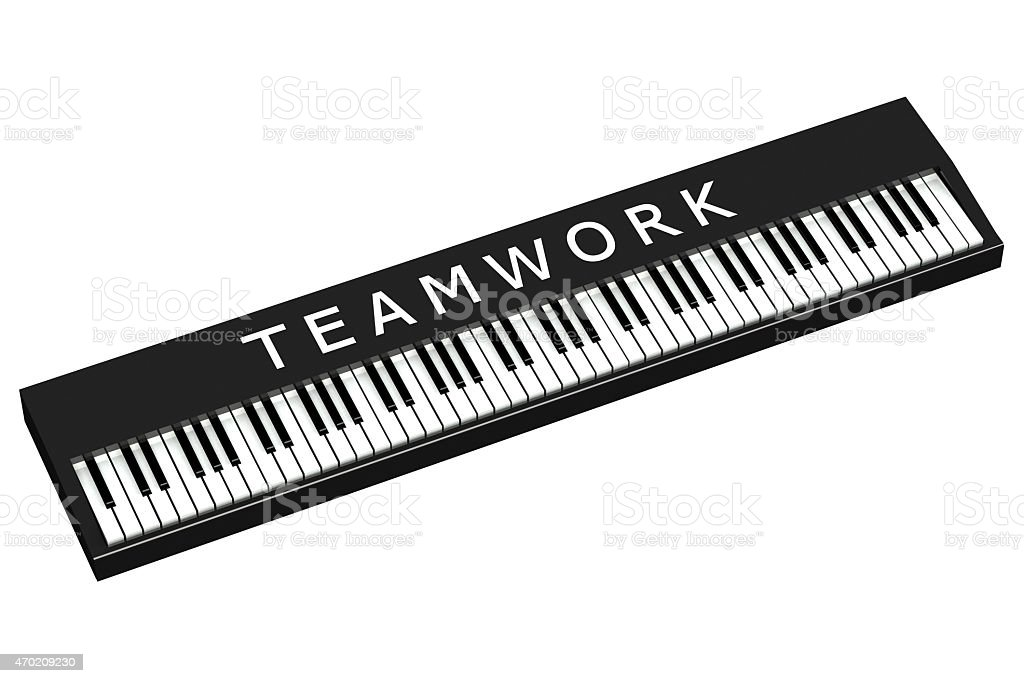 Black piano with word teamwork stock photo