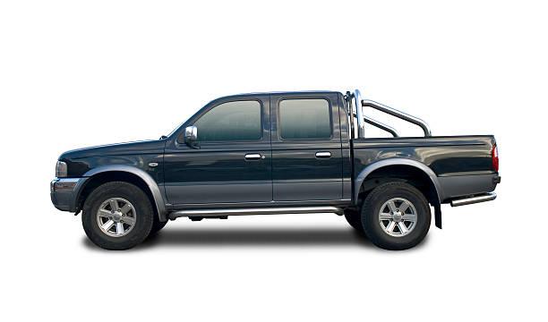 black pick up truck with clipping paths - pikap stok fotoğraflar ve resimler