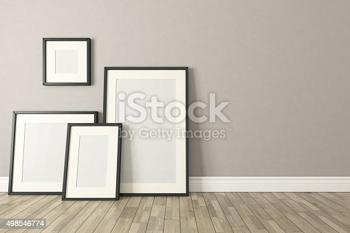 istock Black picture clear frames decor, background, template design 498546774