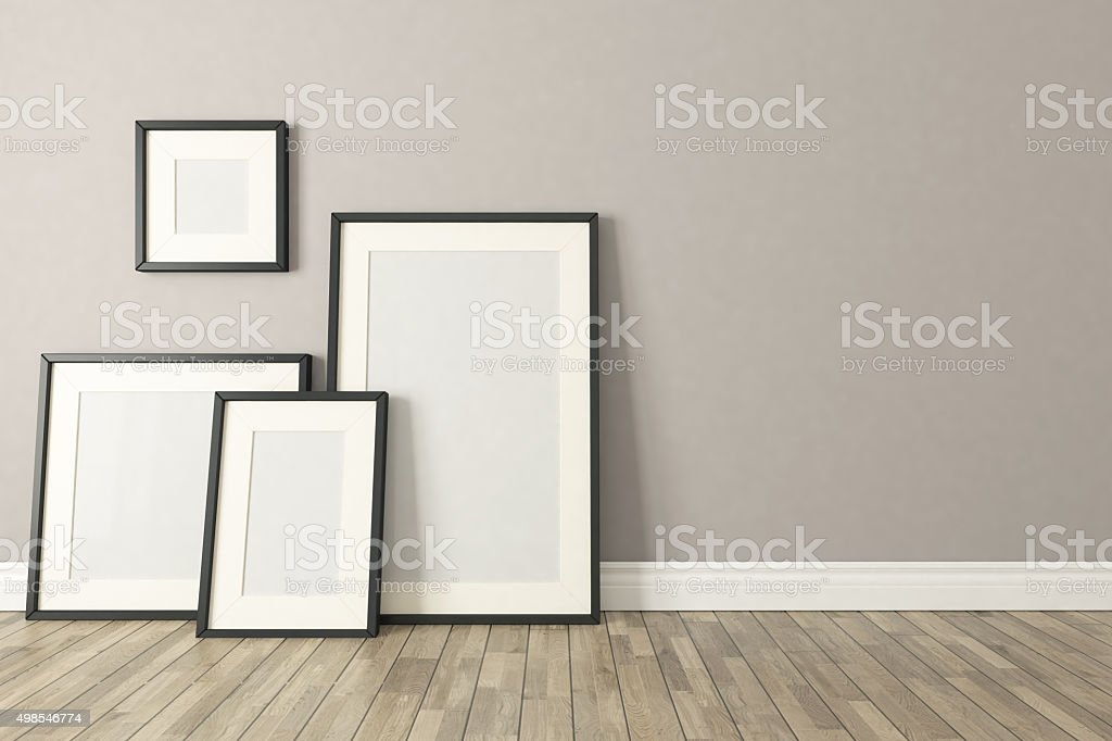 Black picture clear frames decor, background, template design stock photo