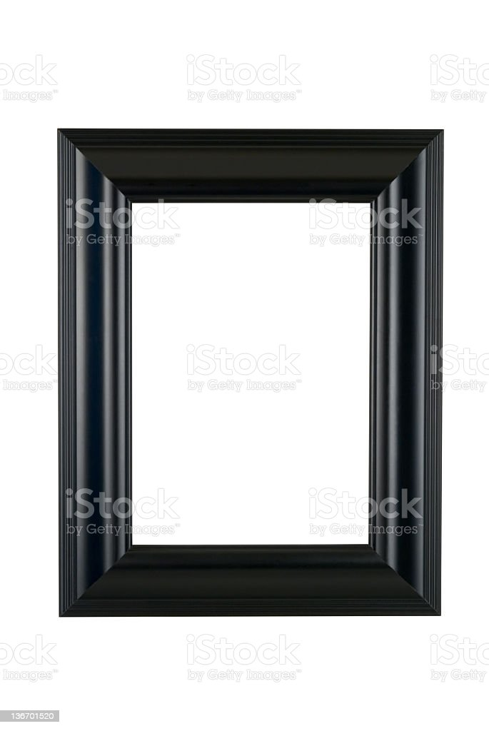 Black Picture Frame in Satin Finish, White Isolated stock photo