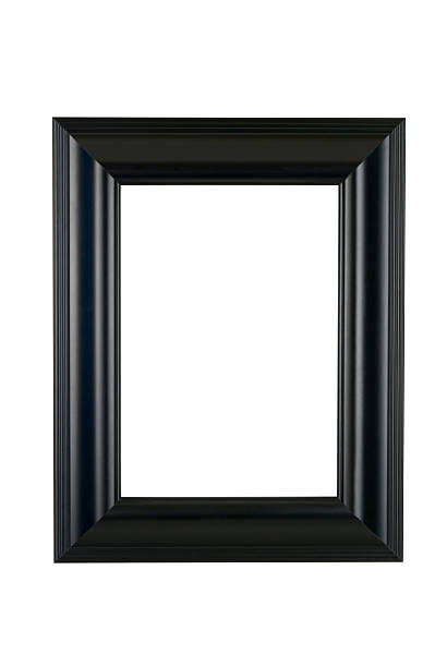 Black Picture Frame in Satin Finish, White Isolated Black picture frame in classic smooth satin finish, isolated on white. black border stock pictures, royalty-free photos & images