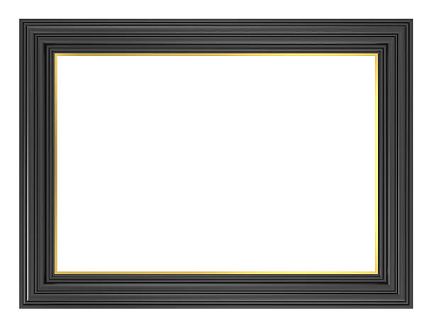 Black picture frame isolated on white background. stock photo