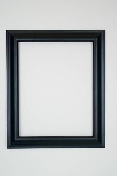 Black Picture Frame, White Background Black picture frame in smooth satin finish, white background desing element.  black border stock pictures, royalty-free photos & images