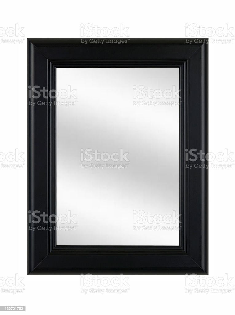 Black Picture Frame with Mirror, Classic, White Isolated royalty-free stock photo