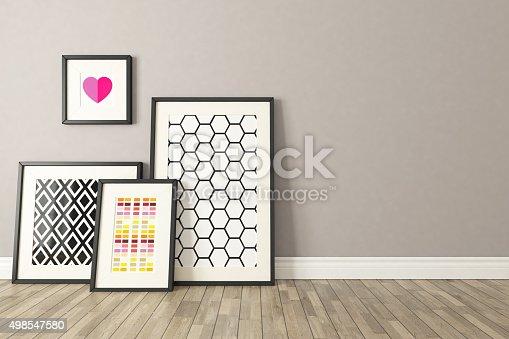 istock Black picture frames decor, background, template design 498547580