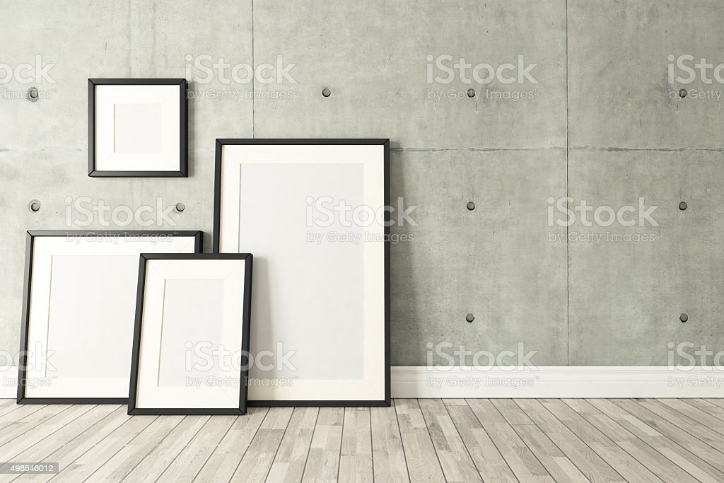 Black picture frames decor with concrete wall, background, template design stock photo