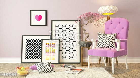 istock Black picture frames decor with pink bergere, background 498550456