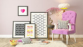 Black picture frames decor with pink bergere, background