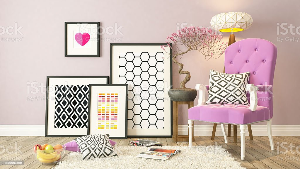 Black picture frames decor with pink bergere, background stock photo