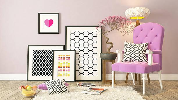 black bilderrahmen dekor mit rosa bergere hintergrund - zeitschrift wandkunst stock-fotos und bilder