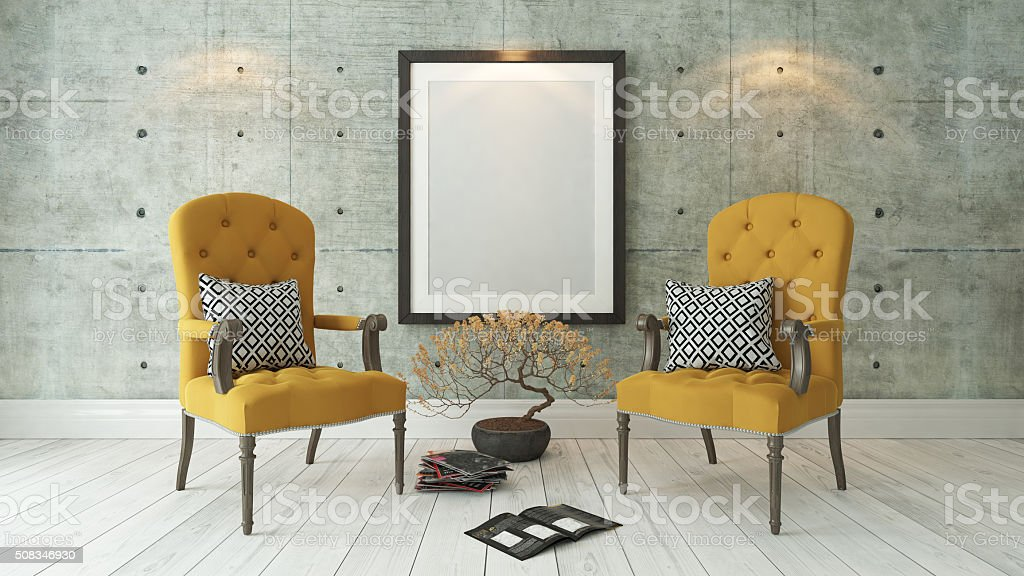 black picture frames with double yellow bergere stock photo