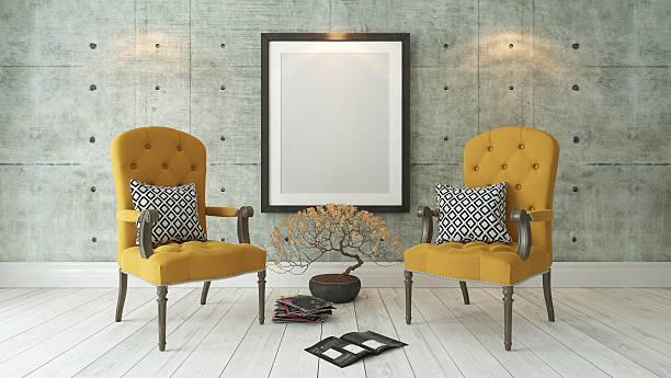 schwarz bilderrahmen mit zwei gelben bergère - zeitschrift wandkunst stock-fotos und bilder