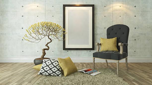 schwarz bilderrahmen mit grau bergère - zeitschrift wandkunst stock-fotos und bilder