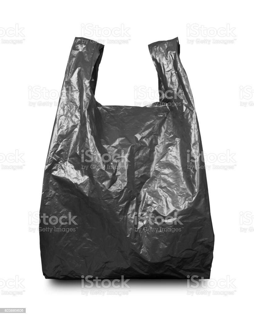 Black plastic bag on white stock photo