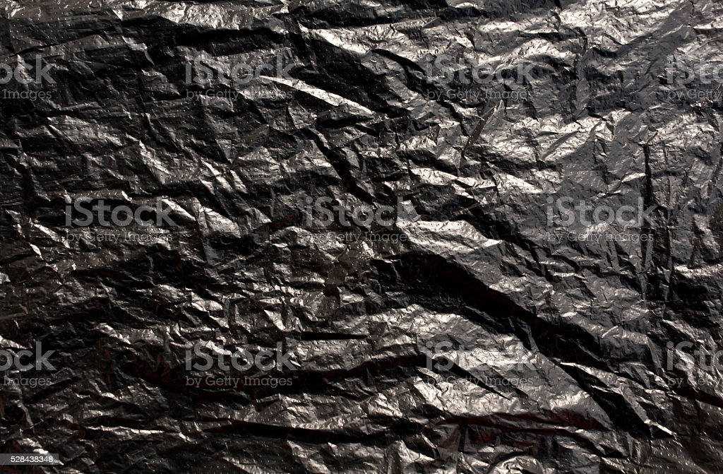 Black plastic bag texture. stock photo