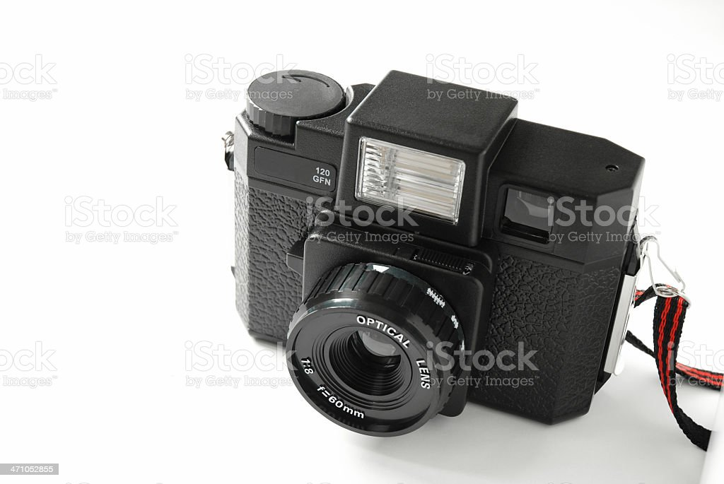 Black plastic camera isolated on white royalty-free stock photo