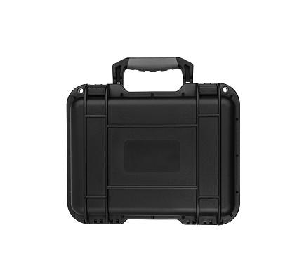 black plastic case for gun isolated on white background