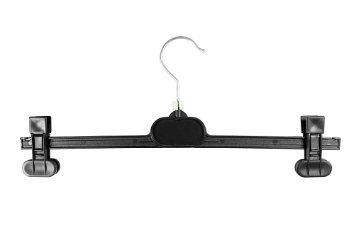 Black plastic clothes hanger on a white background. Top view.